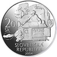 obverse of 200 Korún - Death of Wolfgang Kempelen (2004) coin with KM# 75 from Slovakia. Inscription: SLOVENSKA REPUBLIKÁ 200 Sk 2004