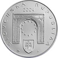 obverse of 200 Korún - Entry Into European Union (2004) coin with KM# 78 from Slovakia. Inscription: SLOVENSKÁ REPUBLIKA 2004