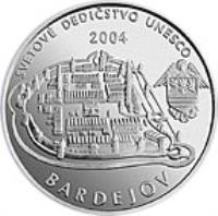 reverse of 200 Korún - Bardejov (2004) coin with KM# 76 from Slovakia. Inscription: SVETOVÉ DEDIČSTVO UNESCO 2004 BARDEJOV