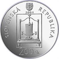 obverse of 200 Korún - Ján Andrej Segner (2004) coin with KM# 77 from Slovakia. Inscription: SLOVENSKÁ REPUBLIKA 2004 200 Sk
