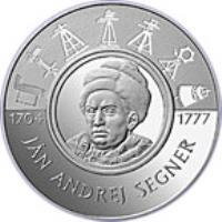 reverse of 200 Korún - Ján Andrej Segner (2004) coin with KM# 77 from Slovakia. Inscription: JÁN ANDREJ SEGNER 1704 1777