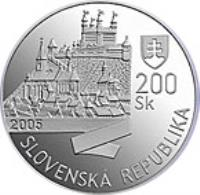 obverse of 200 Korún - Leopold I - 350th Anniversary of Coronation of Leopold I (2005) coin with KM# 81 from Slovakia. Inscription: SLOVENSKÁ REPUBLIKA 2005