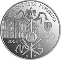 obverse of 200 Korún - The Peace of Pressburg (2005) coin with KM# 82 from Slovakia. Inscription: SLOVENSKA REPUBLIKA 200 Sk 2005