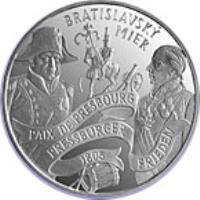 reverse of 200 Korún - The Peace of Pressburg (2005) coin with KM# 82 from Slovakia. Inscription: BRATISLAVSKÝ MIER PAIX DE PRESBOURG PRESSBURGER FRIEDEN 1805