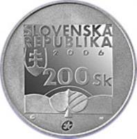 obverse of 200 Korún - Karol Kuzmány (2006) coin with KM# 87 from Slovakia. Inscription: SLOVENSKA REPUBLIKA 2006 200 Sk