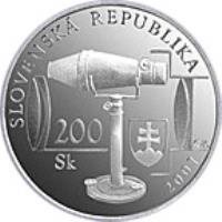 obverse of 200 Korún - Jozef Maximilian Petzval (2007) coin with KM# 105 from Slovakia. Inscription: SLOVENSKÁ REPUBLIKA 2007 200 Sk