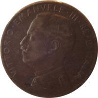 obverse of 2 Centesimi - Vittorio Emanuele III (1908 - 1917) coin with KM# 41 from Italy. Inscription: VITTORIO EMANUELE III RE D'ITALIA