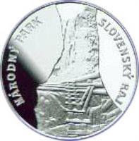 reverse of 500 Korún - Slovenský Raj National Park (1994) coin with KM# 28 from Slovakia. Inscription: NÁRODNÝ PARK SLOVENSKÁ RAJ