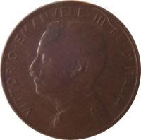 obverse of 1 Centesimo - Vittorio Emanuele III (1908 - 1918) coin with KM# 40 from Italy. Inscription: VITTORIO EMANUELE III RE D'ITALIA