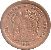 obverse of 2 Cents - SUID-AFRIKA - SOUTH AFRICA (1990 - 1995) coin with KM# 133 from South Africa. Inscription: SUID-AFRIKA · SOUTH AFRICA EX UNITATE VIRES 1993 ALS