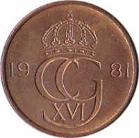 obverse of 5 Öre - Carl XVI Gustaf (1981 - 1984) coin with KM# 849a from Sweden. Inscription: 19 CG 83 XVI