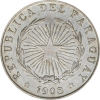 obverse of 5 Centavos (1908) coin with KM# 9 from Paraguay. Inscription: REPUBLICA DEL PARAGUAY * 1908 *