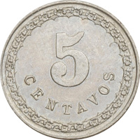 reverse of 5 Centavos (1908) coin with KM# 9 from Paraguay. Inscription: 5 CENTAVOS