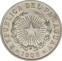 obverse of 20 Centavos (1908) coin with KM# 11 from Paraguay. Inscription: REPUBLICA DEL PARAGUAY * 1908 *