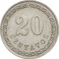 reverse of 20 Centavos (1908) coin with KM# 11 from Paraguay. Inscription: 20 CENTAVOS