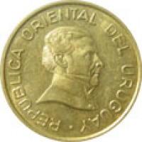 obverse of 2 Pesos Uruguayos (1994 - 2007) coin with KM# 104 from Uruguay. Inscription: REPUBLICA ORIENTAL DEL URUGUAY ·