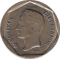 obverse of 100 Bolívares (2001 - 2004) coin with Y# 83 from Venezuela. Inscription: BOLÍVAR LIBERTADOR BARRE