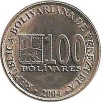 reverse of 100 Bolívares (2001 - 2004) coin with Y# 83 from Venezuela. Inscription: REPÚBLICA BOLIVARIANA DE VENEZUELA 100 BOLÍVARES · 2002 ·