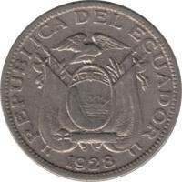 obverse of 5 Centavos (1928) coin with KM# 69 from Ecuador. Inscription: REPUBLICA DEL ECUADOR