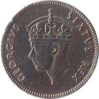 obverse of 50 Cents - George VI (1948 - 1952) coin with KM# 30 from British East Africa. Inscription: GEORGIVS SEXTVS REX
