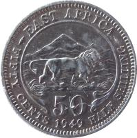 reverse of 50 Cents - George VI (1948 - 1952) coin with KM# 30 from British East Africa. Inscription: EAST AFRICA 50 FIFTY CENTS 1948 HALF SHILLING