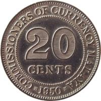 reverse of 20 Cents - George VI (1948 - 1950) coin with KM# 9 from Malaya. Inscription: COMMISSIONERS OF CURRENCY MALAYA 20 CENTS 1950