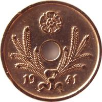 obverse of 10 Penniä - With hole (1941 - 1943) coin with KM# 33.1 from Finland. Inscription: 1941