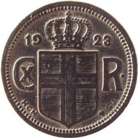 obverse of 25 Aurar - Christian X (1922 - 1940) coin with KM# 2 from Iceland. Inscription: CX R 1940
