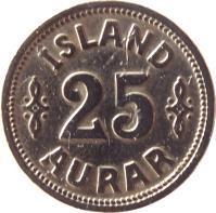 reverse of 25 Aurar - Christian X (1922 - 1940) coin with KM# 2 from Iceland. Inscription: ÍSLAND 25 AURAR