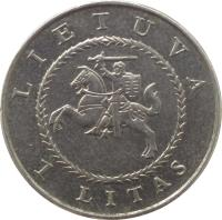 obverse of 1 Litas - 425th Anniversary of Vilnius University (2004) coin with KM# 137 from Lithuania. Inscription: LIETUVA 1 LITAS