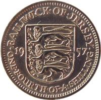 reverse of 1/4 Shilling - Elizabeth II - 1'st Portrait (1957 - 1960) coin with KM# 22 from Jersey. Inscription: · BAILIWICK · OF · JERSEY · 19 57 ONE · FOURTH · OF · A · SHILLING