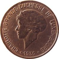 obverse of 10 Centimes - Charlotte (1930) coin with KM# 41 from Luxembourg. Inscription: CHARLOTTE GRANDE-DUCHESSE DE LUXEMBOURG *1930*