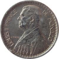obverse of 10 Francs - Louis II (1946) coin with KM# 123 from Monaco. Inscription: LOUIS II PRINCE DE MONACO P. TURIN
