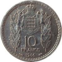 reverse of 10 Francs - Louis II (1946) coin with KM# 123 from Monaco. Inscription: 10 FRANCS 1946 DEO JUVANT