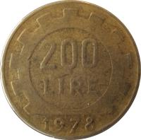 reverse of 200 Lire (1977 - 2001) coin with KM# 105 from Italy. Inscription: 200 LIRE R 1979