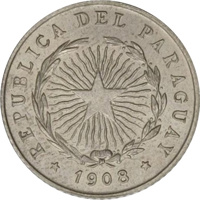 obverse of 10 Centavos (1908) coin with KM# 10 from Paraguay. Inscription: REPUBLICA DEL PARAGUAY * 1908 *