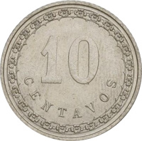 reverse of 10 Centavos (1908) coin with KM# 10 from Paraguay. Inscription: 10 CENTAVOS