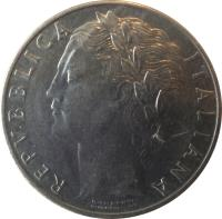 obverse of 100 Lire - Larger (1955 - 1989) coin with KM# 96.1 from Italy. Inscription: REPVBBLICA ITALIANA ROMAGNOLI GIAMPAOLI-INC.