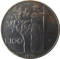 reverse of 100 Lire - Larger (1955 - 1989) coin with KM# 96.1 from Italy. Inscription: L.100 R 1979