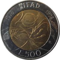 reverse of 500 Lire - 20 Years to IFAD (1998) coin with KM# 193 from Italy. Inscription: IFAD 1978 1998 20 L. DE SIMONI L.500 R