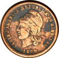 obverse of 1 Centavo (1878 - 1880) coin with KM# 40 from Honduras. Inscription: CENTRO-AMERICA REPUBLICA DE HONDURAS 1878