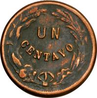 reverse of 1 Centavo (1878 - 1880) coin with KM# 40 from Honduras. Inscription: UN CENTAVO