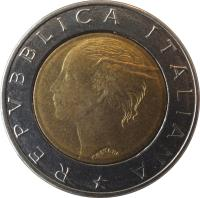 obverse of 500 Lire - 500th Anniversary to Publication of Mathematical Work by Luca Pacioli (1994) coin with KM# 167 from Italy. Inscription: REPUBLICA ITALIANA