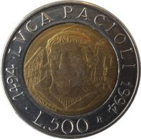 reverse of 500 Lire - 500th Anniversary to Publication of Mathematical Work by Luca Pacioli (1994) coin with KM# 167 from Italy. Inscription: LUCA PACIOLI 1494 1994 L.500