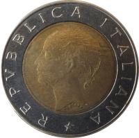 obverse of 500 Lire - Bank of Italy Centennial (1993) coin with KM# 160 from Italy. Inscription: REPUBLICA ITALIANA