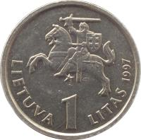obverse of 1 Litas - 75th Anniversary of the Bank of Lithuania and the litas (1997) coin with KM# 109 from Lithuania. Inscription: LIETUVA 1 LITAS 1997