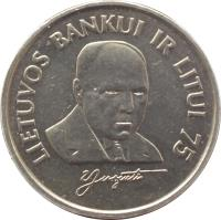 reverse of 1 Litas - 75th Anniversary of the Bank of Lithuania and the litas (1997) coin with KM# 109 from Lithuania. Inscription: LIETUVOS BANKUI IR LITUI 75