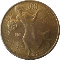 reverse of 200 Lire - FAO (1981) coin with KM# 109 from Italy. Inscription: L. 200 GIORNATA MONDIALE DELL' ALIMENTAZIONE 16 OTT. FAO 1981 R