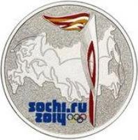 reverse of 25 Roubles - 2014 Winter Olympics, Sochi - Olympic Torch - Colorized (2014) coin with KM# 1502 from Russia. Inscription: SOCHI.RU 2014