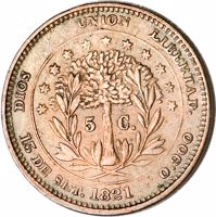 reverse of 5 Centavos - 50th Anniversary of Independence (1871) coin with KM# Pn13 from Honduras. Inscription: DIOS UNION LIBERTAD. 5 C. 15 DE SET. 1821 0.900